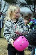 Kayla Davis, 5 years old, hunts for Easter Eggs during the Easter Egg Hunt Saturday March 28, 2015 at the Bristol Township Musical Complex football field in Bristol Township, Pennsylvania. About 250 children participated in the hunt to find about 3,000 Easter Eggs. (Photo by William Thomas Cain/Cain Images)