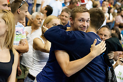 after handball match between National teams of Slovenia and Hungary in play off of 2015 Men's World Championship Qualifications on June 15, 2014 in Rdeca dvorana, Velenje, Slovenia. Photo by Urban Urbanc / Sportida