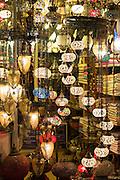 Turkish lamps in window of lighting and gift shop in Kucukayasofya Caddesi in Sultanahmet, Istanbul, Turkey