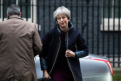 © Licensed to London News Pictures. 08/01/2018. London, UK. Prime Minister Theresa May arrives on Downing Street ahead of an expected Cabinet reshuffle. Photo credit: Rob Pinney/LNP