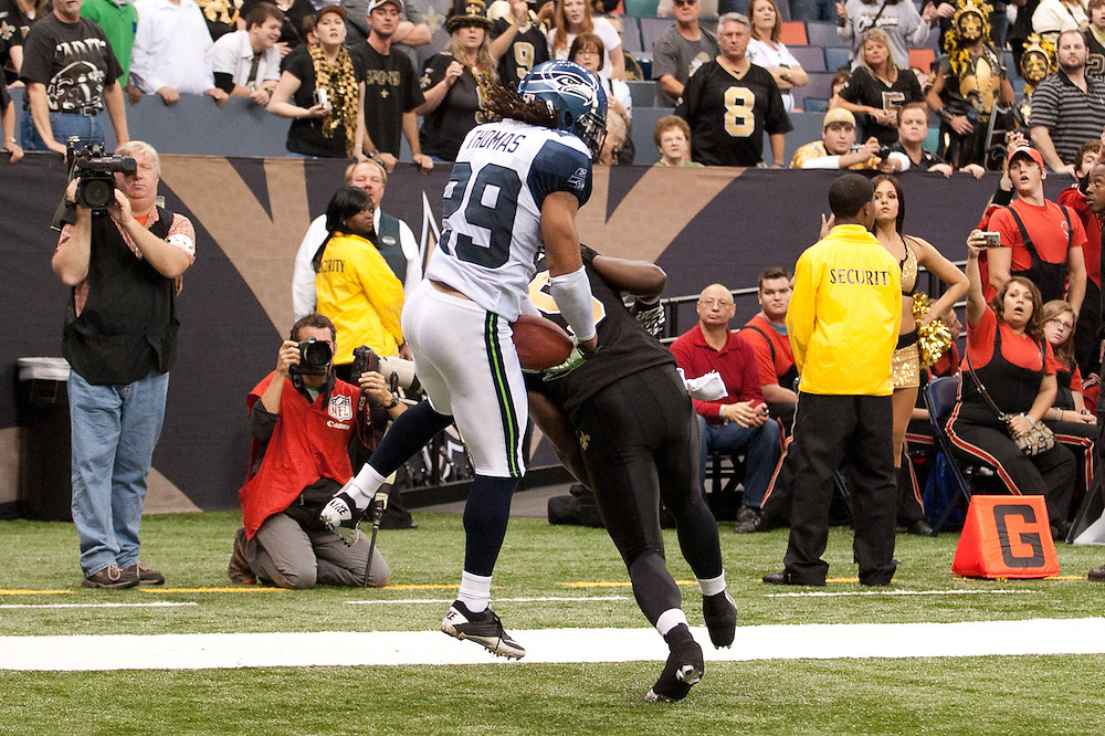 21 November 2010: Seattle Seahawks safety Earl Thomas (29) catches the ball in the end zone for an interception from New Orleans Saints quarterback Drew Brees (9) during the second half of the game. New Orleans Saints defeated Seattle Seahawks 34-19.
