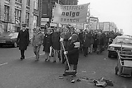 Nalgo strikers march against cuts in council services, Sheffield. Dec 1981.