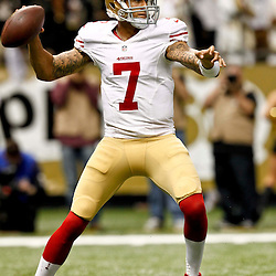 November 25, 2012; New Orleans, LA, USA; San Francisco 49ers quarterback Colin Kaepernick (7) looks to pass against the New Orleans Saints during the second half of a game at the Mercedes-Benz Superdome. The 49ers defeated the Saints 31-21. Mandatory Credit: Derick E. Hingle-US PRESSWIRE