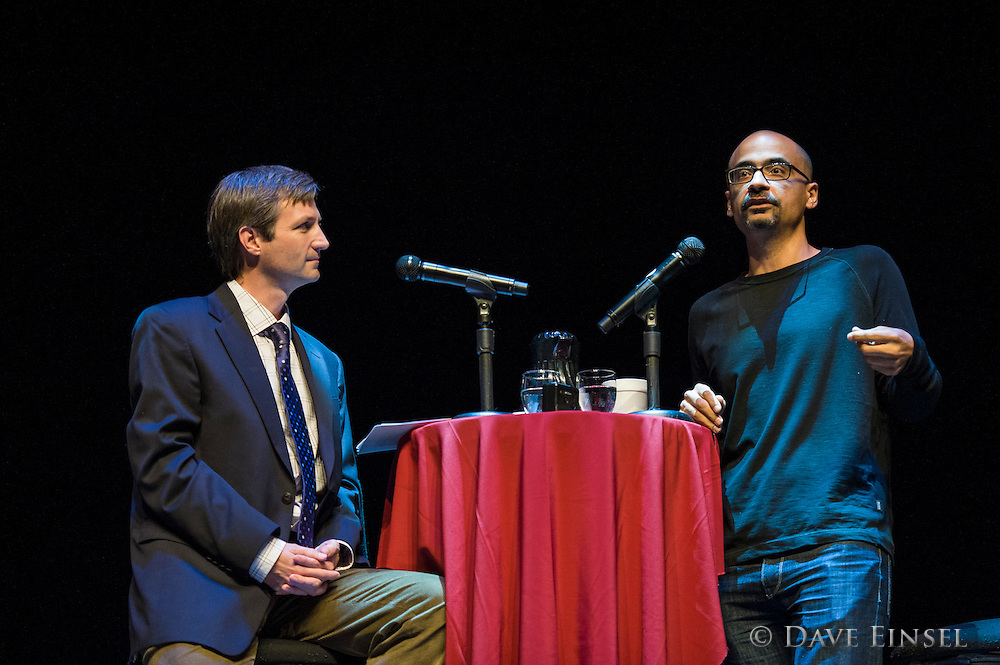 Junot Diaz discusses writing at a reading at the Wortham Center sponsored by Inprint, September 24, 2012, in Houston.