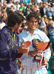 MONTE-CARLO, MONACO - Sunday, April 18, 2010: Rafael Nadal (ESP) with the trophy after winning the the Men's Singles Final 6-0, 6-1 over Fernando Verdasco (ESP) on day seven of the ATP Masters Series Monte-Carlo at the Monte-Carlo Country Club. This was Nadal's sixth straight victory in the tournament, setting a record for the most Masters Series consecutive victories at a single tournament by any player. (Photo by David Rawcliffe/Propaganda)