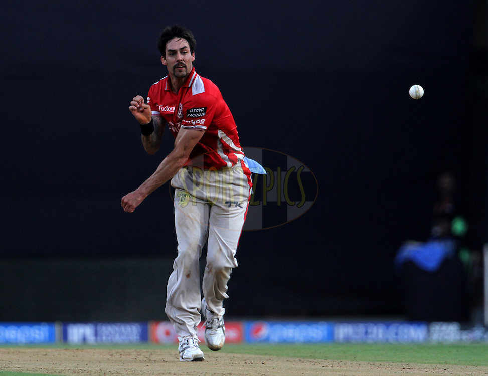 Mitchell Johnson of the Kings X1 Punjab throws the ball during match 22 of the Pepsi Indian Premier League Season 2014 between the Mumbai Indians and the Kings XI Punjab held at the Wankhede Cricket Stadium, Mumbai, India on the 3rd May  2014<br /> <br /> Photo by Vipin Pawar / IPL / SPORTZPICS<br /> <br /> <br /> <br /> Image use subject to terms and conditions which can be found here:  http://sportzpics.photoshelter.com/gallery/Pepsi-IPL-Image-terms-and-conditions/G00004VW1IVJ.gB0/C0000TScjhBM6ikg