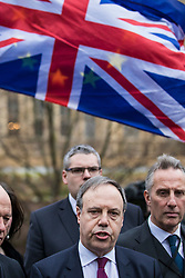 © Licensed to London News Pictures. 05/12/2017. London, UK. Nigel Dodds MP, Deputy Leader of the DUP, speaks to the media in Victoria Gardens after Prime Minister Theresa May failed to secure a Brexit deal in Brussels on Monday 4 December 2017. Photo credit: Rob Pinney/LNP