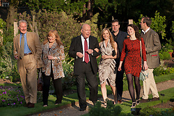 © licensed to London News Pictures. London, UK 13/06/2012. Downton Abbey cast enjoying The Haven's annual fundraising garden party at the Chelsea Physic Garden hoping to raise over £40,00 to help support people with breast cancer. Photo credit: Tolga Akmen/LNP..(Names left to right) David Robb, Lesley Nicol, Julian Fellows, Joanna Froggatt, Brendan Coyle, Sophie McShera and Kevin Doyle.