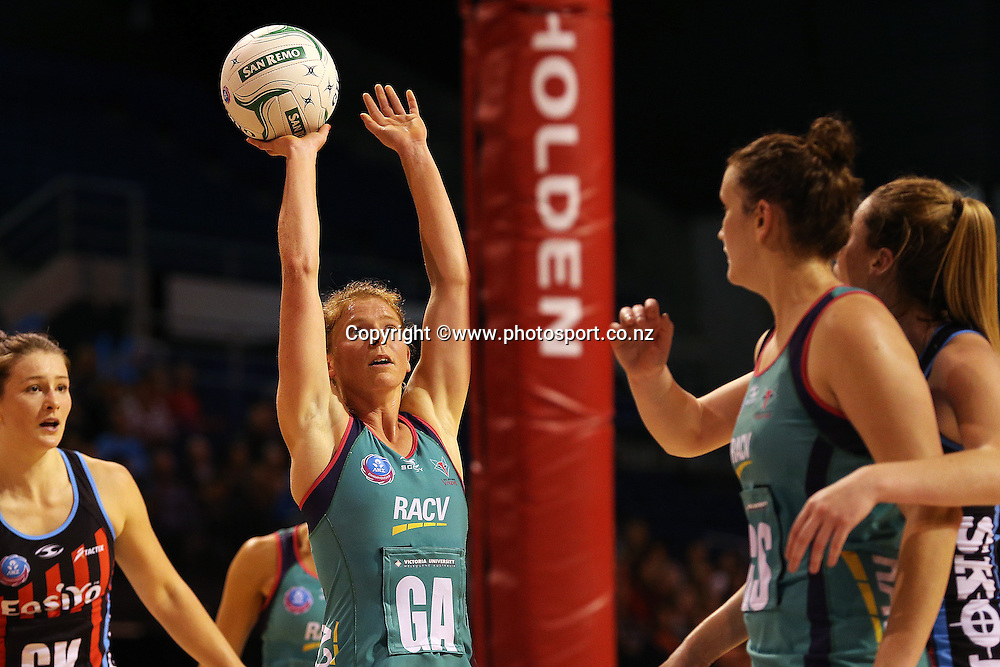 Tegan Caldwell of the Vixens taking a shot at goal during the ANZ Championship Netball between Mainland Tactix v Melbourne Vixens, held at CBS Arena, Christchurch. 31 March 2014 Photo: Joseph Johnson/www.photosport.co.nz