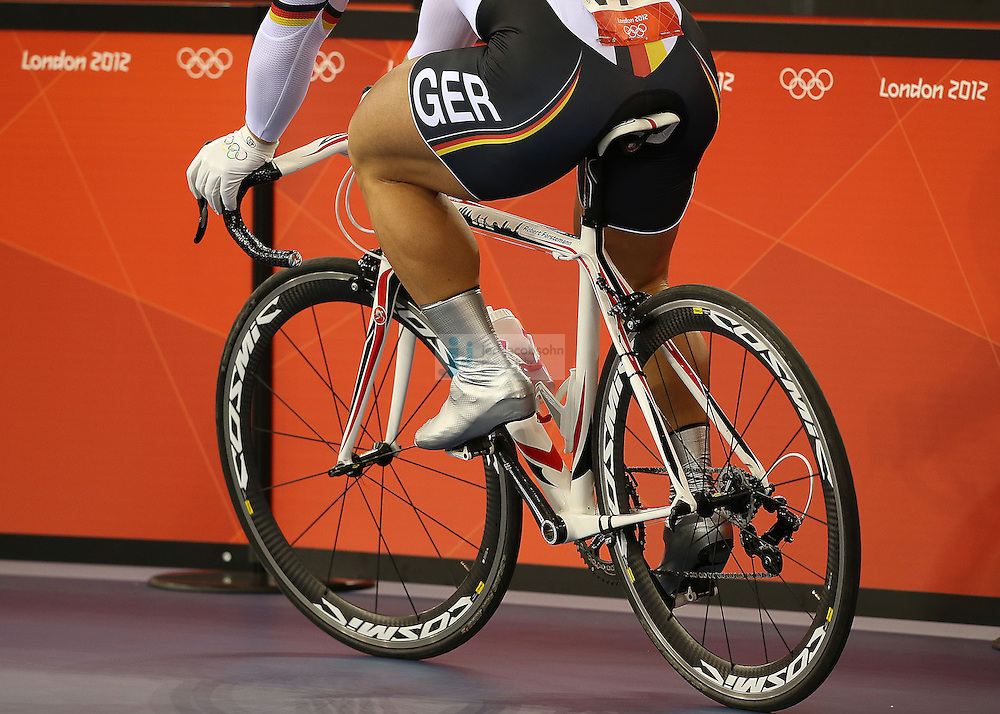 Robert Forstemann of Germany warms up prior to the men's cycling sprint finals at the velodrome during day 6 of the London Olympic Games in London, England, United Kingdom on August 2, 2012..(Jed Jacobsohn/for The New York Times)..