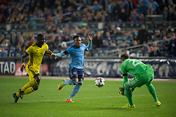 November 5, 2017 - Bronx, New York, U.S - Columbus Crew goalkeeper ZACK STEFFEN (23) grabs a ball being chased by New York City FC defender RODNEY WALLACE (23) and defended by Columbus Crew defender JONATHAN MENSAH (4) during leg 2 of the Eastern Conference Semifinal at Yankee Stadium, Bronx, NY.  NYCFC defeats Columbus Crew 2-0.  Columbus wins 4-3 on aggregate. (Credit Image: © Mark Smith via ZUMA Wire)