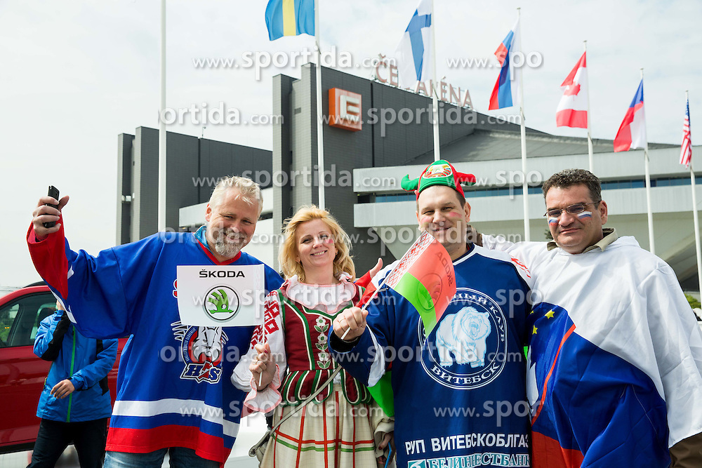 Fans of Slovenia and Belarus in fan zone prior to the Ice Hockey match between Belarus and Slovenia at Day 2 in Group B of 2015 IIHF World Championship, on May 2, 2015 in CEZ Arena, Ostrava, Czech Republic. Photo by Vid Ponikvar / Sportida