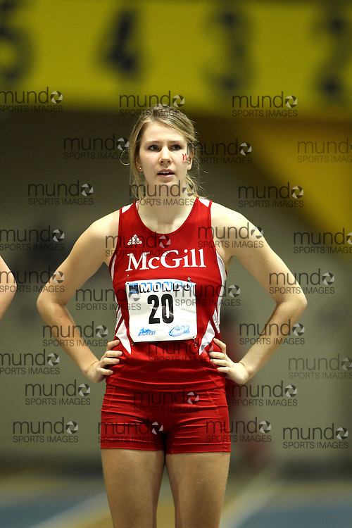(Windsor, Ontario---11 March 2010) Alyson McPhee of McGill University Redmen competes in the  competes in the pentathlon 800m at the 2010 Canadian Interuniversity Sport Track and Field Championships at the St. Denis Center. Photograph copyright Claus Andersen/Mundo Sport Images. www.mundosportimages.com