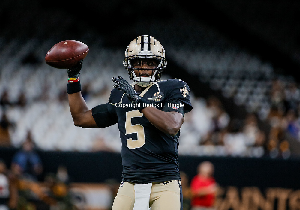 Sep 9, 2018; New Orleans, LA, USA; New Orleans Saints quarterback Teddy Bridgewater (5) before a game against the Tampa Bay Buccaneers at the Mercedes-Benz Superdome. Mandatory Credit: Derick E. Hingle-USA TODAY Sports