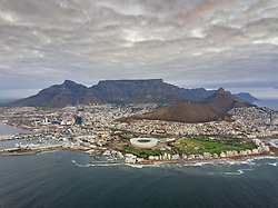 April 19, 2018 - Cape Town, Western Cape, South Africa - Aerial panoramic view of Mouille Point suburb of Cape Town, South Africa. (Credit Image: © Amazing Aerial via ZUMA Wire)