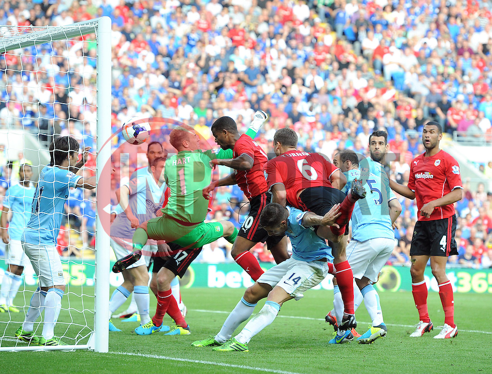 Cardiff City's Fraizer Campbell scores to make it 2-1  - Photo mandatory by-line: Joe Meredith/JMP - Tel: Mobile: 07966 386802 25/08/2013 - SPORT - FOOTBALL - Cardiff City Stadium - Cardiff -  Cardiff City V Manchester City - Barclays Premier League