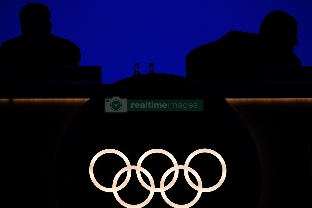 LIMA, Sept. 16, 2017  International Olympic Committee (IOC) President Thomas Bach (R) and IOC honorary President Jacques Rogge are silhouetted during the 131st IOC session in Lima, Peru, on Sept. 15, 2017. The 131st IOC session concluded on Friday. (Credit Image: © Li Ming/Xinhua via ZUMA Wire)
