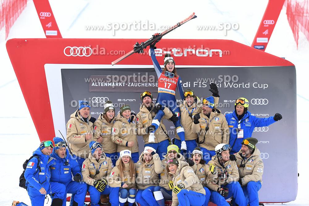 11.01.2020, Keelberloch Rennstrecke, Altenmark, AUT, FIS Weltcup Ski Alpin, Abfahrt, Damen, Siegerehrung, im Bild Nicol Delago (ITA) // Nicol Delago of Italy during the winner ceremony for the women's Downhill of FIS ski alpine world cup at the Keelberloch Rennstrecke in Altenmark, Austria on 2020/01/11. EXPA Pictures © 2020, PhotoCredit: EXPA/ Erich Spiess