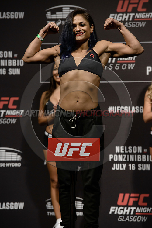 "GLASGOW, UNITED KINGDOM, JULY 15, 2017: Cynthia Calvillo on stage during the ceremonial weigh-in for ""UFC Fight Night Glasgow: Nelson vs. Ponzinibbio"" inside the SSE Hydro Arena in Glasgow"