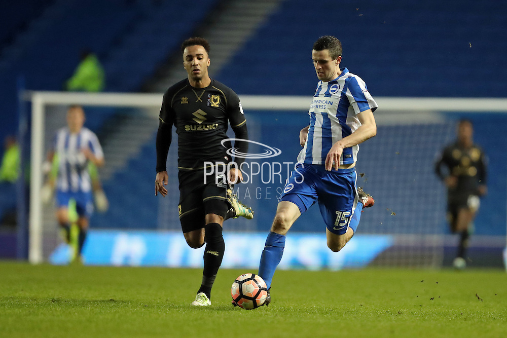 Brighton & Hove Albion winger Jamie Murphy (15) breaks forward during the The FA Cup match between Brighton and Hove Albion and Milton Keynes Dons at the American Express Community Stadium, Brighton and Hove, England on 7 January 2017.