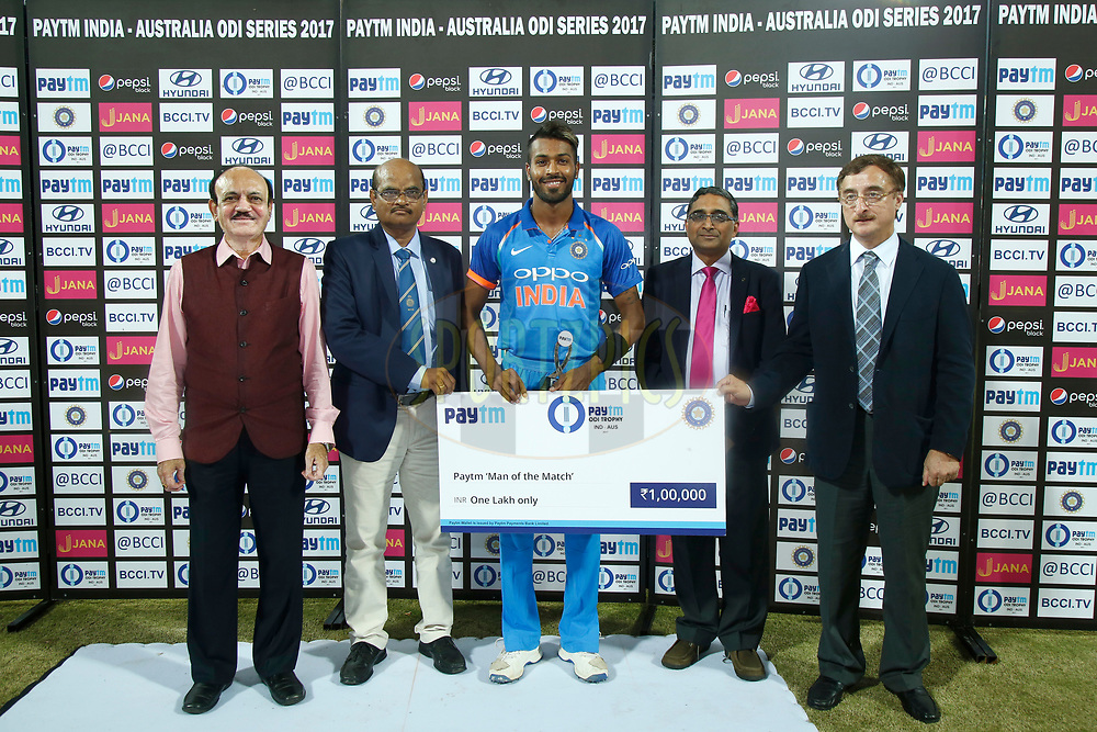 Hardik Pandya of India is Man of the Match during the 3rd One Day International between India and Australia held at the Holkar Stadium in Indore on the 24th  September 2017<br /> <br /> Photo by Deepak Malik / BCCI / SPORTZPICS