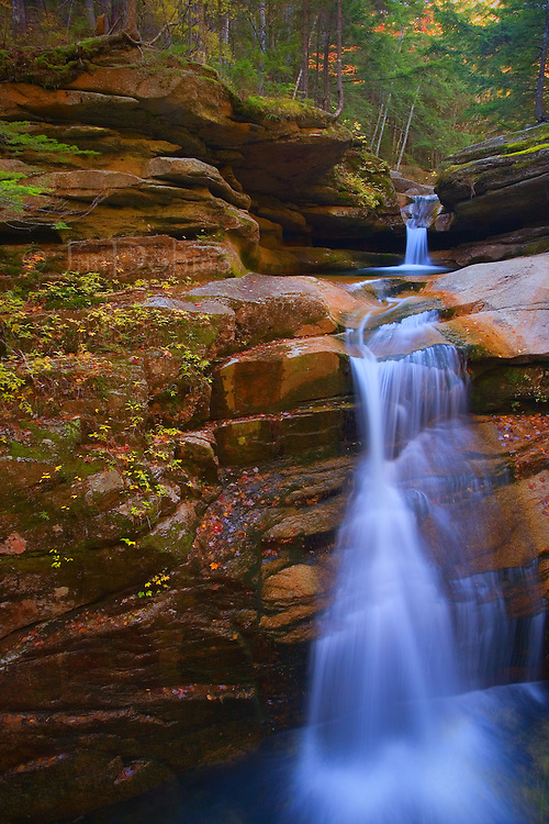 Sabbaday Falls is located in the White Mountains of New Hampshire