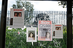 © Licensed to London News Pictures. 09/08/2012 . Posters on the bus stop near Castle Hill School and The Lindens.. Sixth day (09.08.2012) Tia Sharp has been missing..  12 years old Tia Sharp has been missing from the Lindens on The Fieldway Estate in New Addington,Croydon,Surrey since Friday last week. .Photo credit : Grant Falvey/LNP