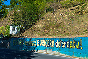 Basque protest banner in Biskaia Basque region, Spain