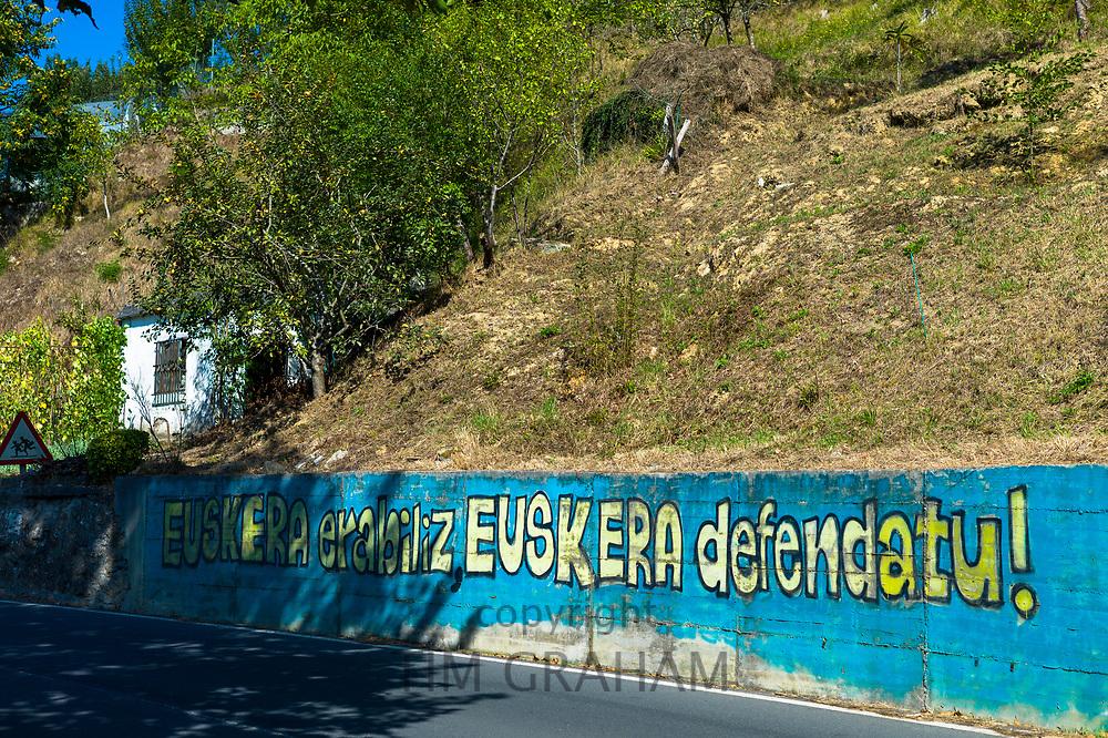 Basque protest banner in Biskaia Basque region, Spain