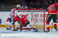 PENTICTON, CANADA - SEPTEMBER 8: Tyler Parsons #82 of Calgary Flames defends the net during first period against the Edmonton Oilers on September 8, 2017 at the South Okanagan Event Centre in Penticton, British Columbia, Canada.  (Photo by Marissa Baecker/Shoot the Breeze)  *** Local Caption ***