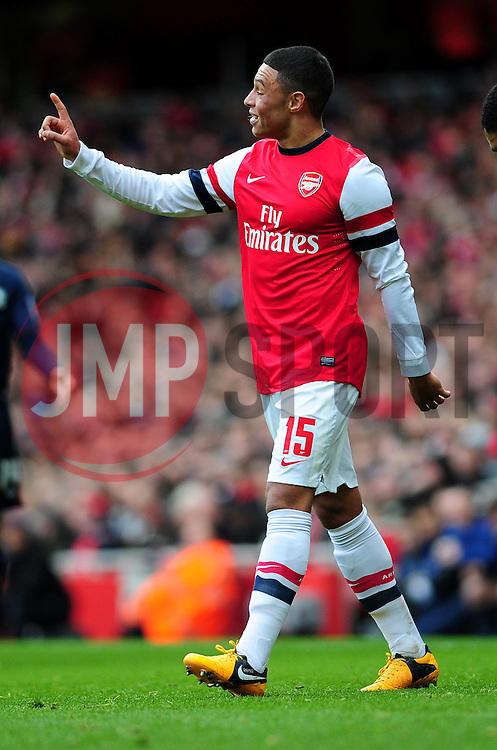 Arsenal's Alex Oxlade-Chamberlain appeals to the referee - Photo mandatory by-line: Dougie Allward/JMP - Tel: Mobile: 07966 386802 16/02/2013 - SPORT - FOOTBALL - Emirates Stadium - London -  Arsenal V Blackburn Rovers - FA Cup - Fifth Round