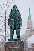 Bronze statue to commemorate Roald Amundsen arctic explorer by cathedral in Tromsoya, Tromso,  Arctic Circle in Northern Norway