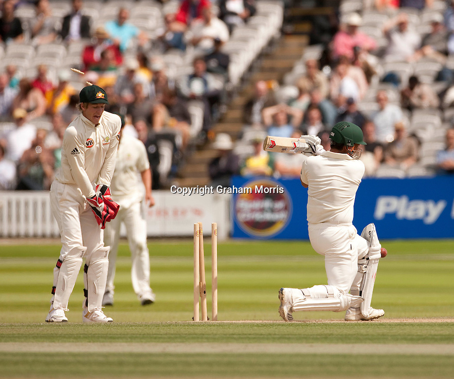 Kamran Akmal is bowled by Steve Smith during the MCC Spirit of Cricket Test Match between Pakistan and Australia at Lord's.  Photo: Graham Morris (Tel: +44(0)20 8969 4192 Email: sales@cricketpix.com) 16/07/10