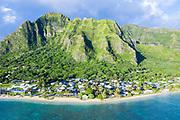 Aerial photograph of Kaa'awa, Windward Oahu, Hawaii