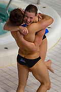 Grace Reid of Great Britain and Tom Daley of Great Britain celebrate winning the Mixed Syncronised 3m dive at the FINA/CNSG Diving World Series 2019 at London Aquatics Centre, London, United Kingdom on 19 May 2019.