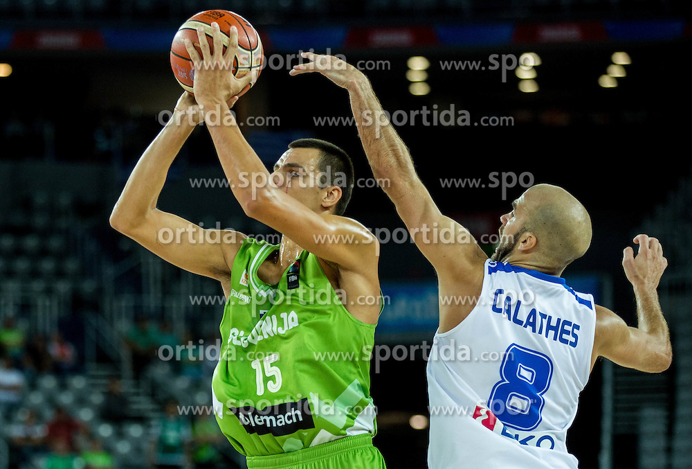 Jure Balazic of Slovenia vs Nick Calathes of Greece during basketball match between Slovenia vs Greece at Day 5 in Group C of FIBA Europe Eurobasket 2015, on September 9, 2015, in Arena Zagreb, Croatia. Photo by Vid Ponikvar / Sportida