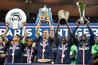 Joie PSG - Thiago Silva / Lucas MOURA / Blaise MATUIDI / Zoumana CAMARA - 30.05.2015 - Auxerre / Paris Saint Germain - Finale Coupe de France<br />Photo : Andre Ferreira / Icon Sport