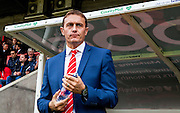 Leyton Orient manager Ian Hendon watches from the dugout during the Sky Bet League 2 match between Crawley Town and Leyton Orient at the Checkatrade.com Stadium, Crawley, England on 10 October 2015. Photo by Bennett Dean.