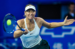 SHENZHEN, Jan. 5, 2018  Maria Sharapova of Russia hits a return during the semi-final match against Katerina Siniakova of the Czech Republic at the WTA Shenzhen Open tennis tournament in Shenzhen, China, Jan. 5, 2018. Maria Sharapova lost by 1-2. (Credit Image: © Mao Siqian/Xinhua via ZUMA Wire)