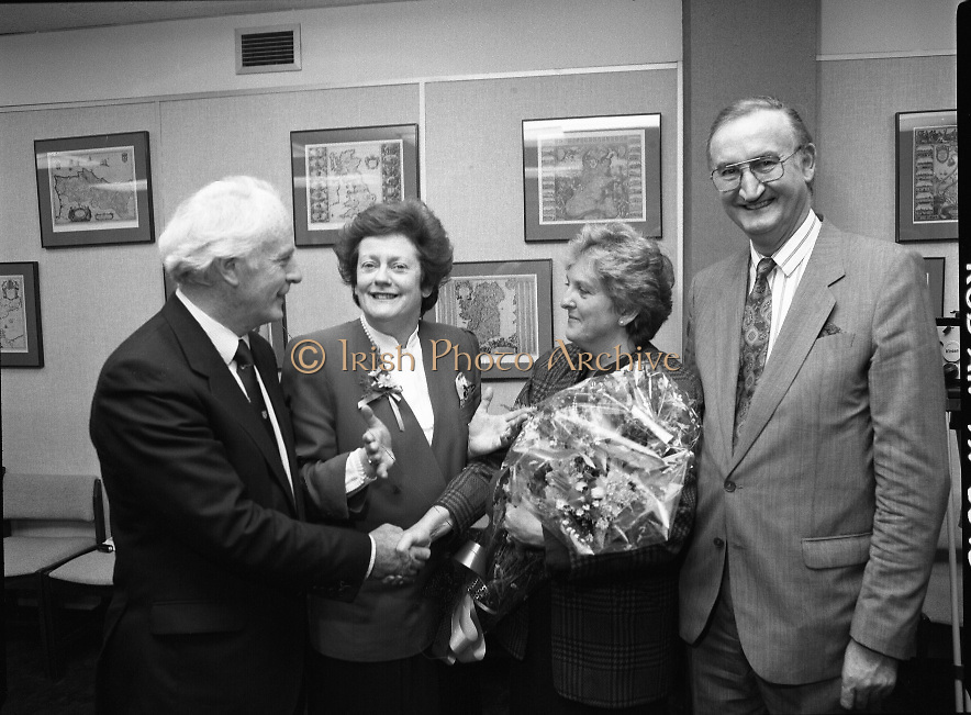 """Irish Laureate Women Of Europe Award. (T10)..1989..17.11.1989..11.17.1989..17th November 1989..Speculation regarding the Irish Laureate for the 1989 Women of Europe Award ended today when the Minister for Education, Ms Mary O'Rourke TD, announced that the Irish Laureate for this year is Grainne Kenny. Founder member of EURAD (Europe Against Drugs), and well known for her work as """"The drugs lady"""" in Ireland, Grainne Kenny has been involved in the fight against drugs since 1980. She helped form CAD, Community Action and Drugs and later EURAD. EURAD is has the active co-operation of both the European Commission and Parliament...Grainne Kenny is pictured being congratulated on her achievement."""