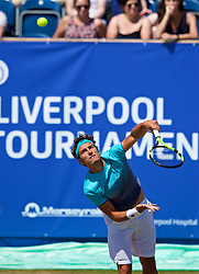 LIVERPOOL, ENGLAND - Sunday, June 24, 2018: Alessandro Giannessi (ITA) during day four of the Williams BMW Liverpool International Tennis Tournament 2018 at Aigburth Cricket Club. (Pic by Paul Greenwood/Propaganda)