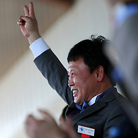 South Korean boxer Myung-Woo Yuh speaks after his induction during the 2013 International Boxing Hall of Fame induction ceremony  on Sunday, June 9, 2013 in Canastota, New York.  (AP Photo/Alex Menendez)