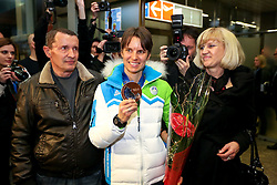 Teja Gregorin with parents at reception of Slovenia team arrived from Winter Olympic Games Sochi 2014 on February 19, 2014 at Airport Joze Pucnik, Brnik, Slovenia. Photo by Vid Ponikvar / Sportida