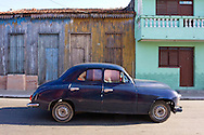 Old European car and houses in Cardenas, Matanzas, Cuba.