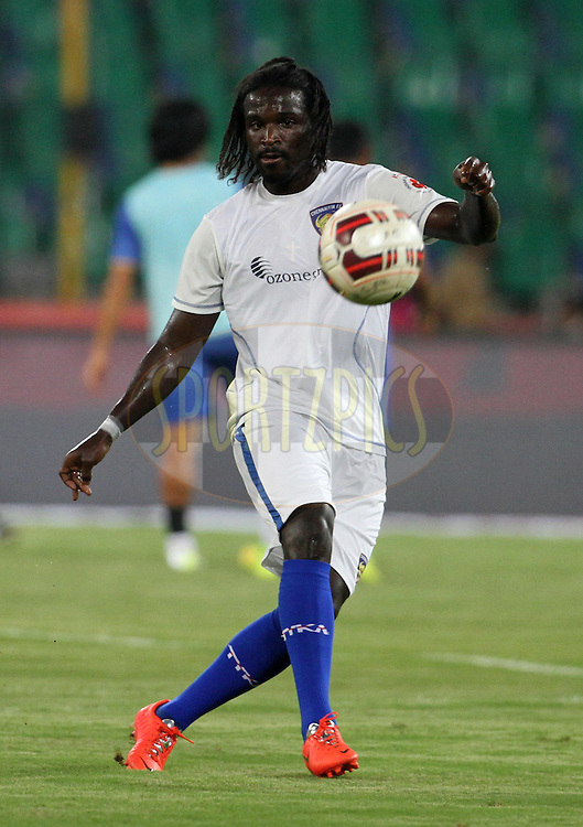 Bernard Mendy of Chennaiyin FC warm up before the start of the match 15 of the Hero Indian Super League between Chennaiyin FC and Mumbai City FC held at the Jawaharlal Nehru Stadium, Chennai, India on the 28th October 2014.<br /> <br /> Photo by:  Vipin Pawar/ ISL/ SPORTZPICS