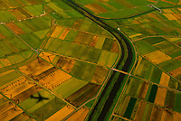 Aerial view of farmland near Narita International Airport, Tokyo, Japan.