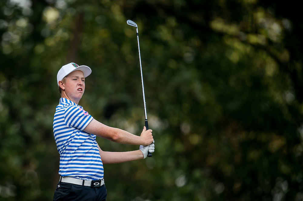 Jake Meenhorst of New Zealand in action during day two of the 10th Faldo Series Asia Grand Final at Faldo course on 03 March of 2016 in Shenzhen, China. Photo by Xaume Olleros.