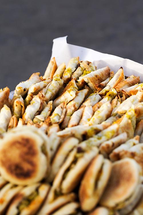 Mini Moroccan pastilla street food stand, Asilah, Northern Morocco, 2015-08-10.