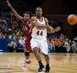 Virginia guard Sean Singletary (44) passes against Elon.  The Virginia Cavaliers men's basketball team defeated the Elon Phoenix 91-61  at the John Paul Jones Arena in Charlottesville, VA on December 22, 2007.