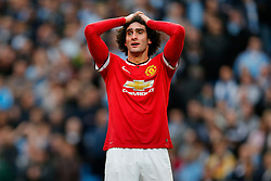 Marouane Fellaini of Manchester United looks dejected after missing a chance on goal - Photo mandatory by-line: Rogan Thomson/JMP - 07966 386802 - 02/11/2014 - SPORT - FOOTBALL - Manchester, England - Etihad Stadium - Manchester City v Manchester United - Barclays Premier League.